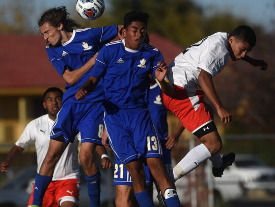 Wooster takes on Reed during their soccer game in Reno