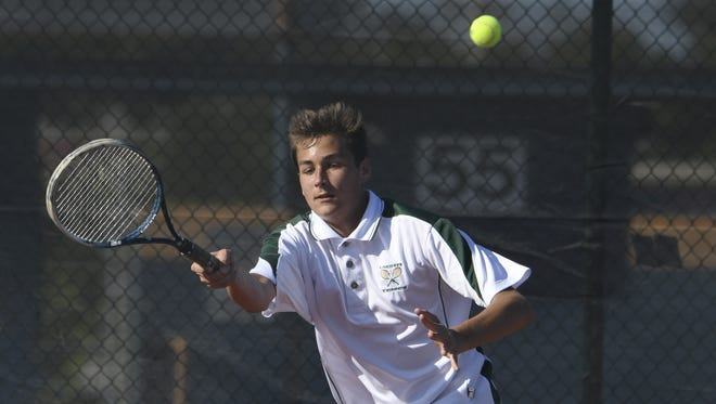 Griffin Lamp of Viera returns a volley to Eau Gallie's Max Yesowitch during their match Tuesday.