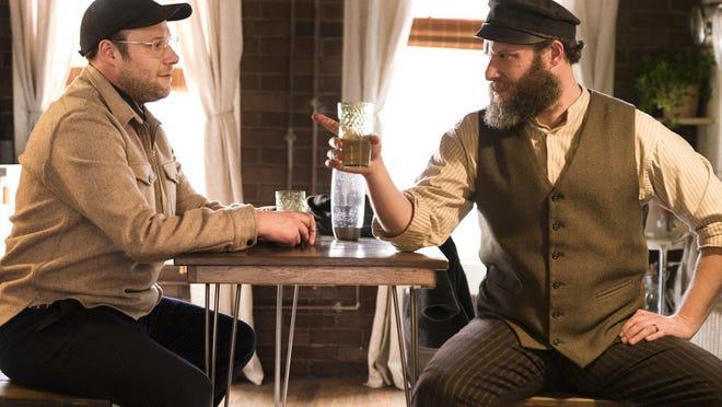 "Seth Rogen portrays Ben Greenbaum, left, and his great-grandfather Herschel Greenbaum in ""An American Pickle."""