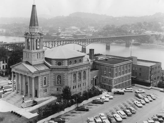 This 1967 image shows the First Baptist Church in downtown Knoxville.