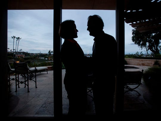 Jack Sage and his wife Gloria at their home in Corona del Mar in January.