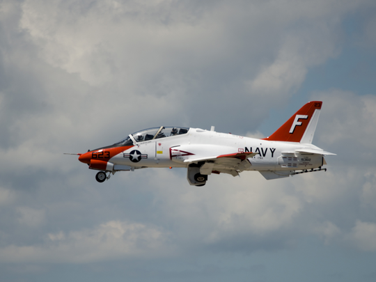 A T-45 Goshawk flies at Pensacola Naval Air Station