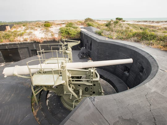 An old gun battery remains at Battery Cooper near Fort Pickens in Pensacola on Monday, December 4, 2017.  Lead from munitions once used at a firing range just east of the battery are among contaminants needing to be addressed at current and former military sites according to a recent report.