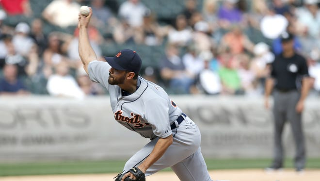 Detroit Tigers relief pitcher Joakim Soria delivers during the ninth inning against the Chicago White Sox Thursday, May 7, 2015, in Chicago. Soria recorded four outs, all strikeouts, and the Tigers won 4-1.