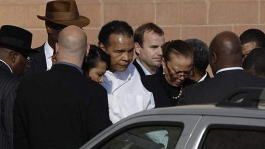 Muhammad Ali leaves after attending a memorial service for boxing legend Joe Frazier at the Enon Tabernacle Baptist Church Monday, Nov. 14, 2011, in Philadelphia.