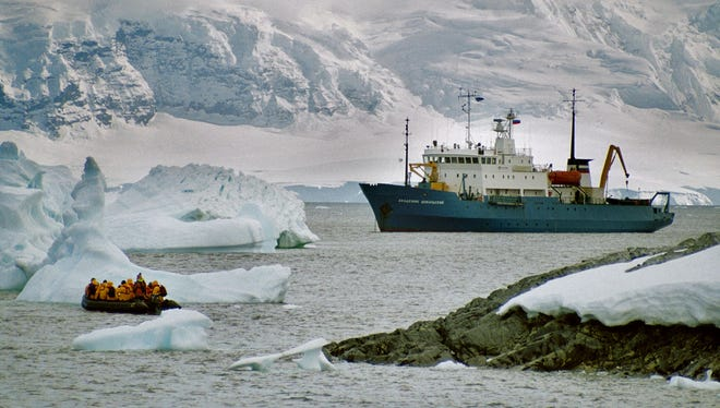 Undated file picture of tourists disembarking at the Antartic after leaving the ship Akademik Shokalkskiy.