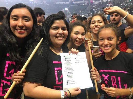 Camila Casanova (from left), Kbree Vasquez, Jurnee Escatiola. Chloe Ramirez and Caitlin Salazar. The girls are members of the Chicas Rock Music Camp and attended a Green Day concernt on SaturdaySept. 9 in San Antonio.