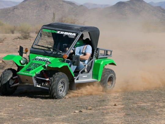 The Green Zebra Desert Jeep Tour involves driving a Tomcar along private acres of the Sonaran desert.