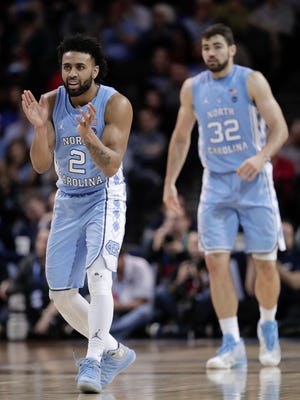 North Carolina guard Joel Berry II (2) reacts during the first half of the team's NCAA college basketball game against Duke in the Atlantic Coast Conference men's tournament Friday night in New York.