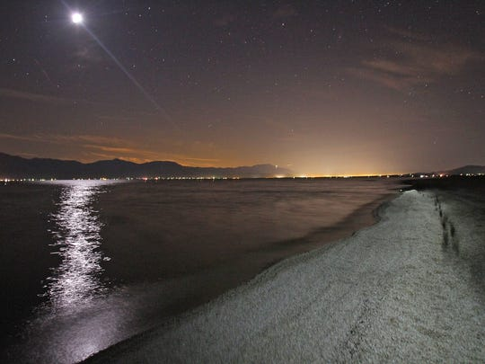 The moon shines over the Salton Sea on March 4, 2011.