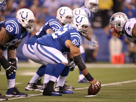 Indianapolis Colts center Khaled Holmes (62) prepares to snap the ball at the offensive line, New England Patriots at Indianapolis Colts, Sunday, Oct. 18, 2015.