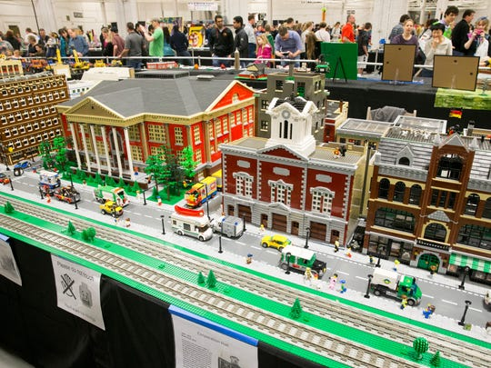 Several thousand attendees at the weekend's Brickworld exhibit at the Indiana State Fairgrounds, Indianapolis, Sunday, March 13, 2016. The show, one of four in the U.S. each year, shows the possibilities of building with Lego bricks and figures.