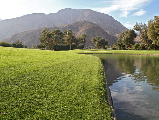 Grass wraps around a pond at De Anza Desert Country