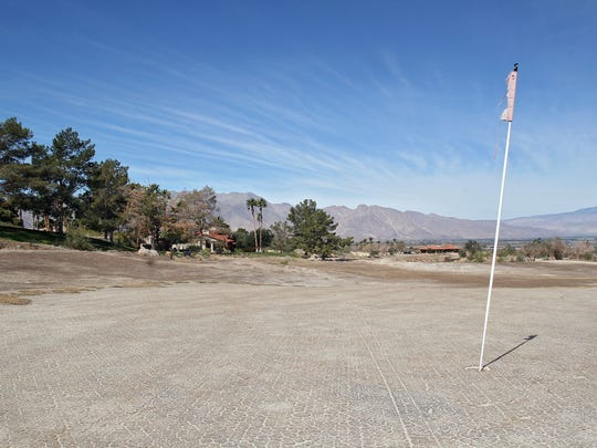 The golf course has been left dry at Rams Hill Country Club in Borrego Springs.