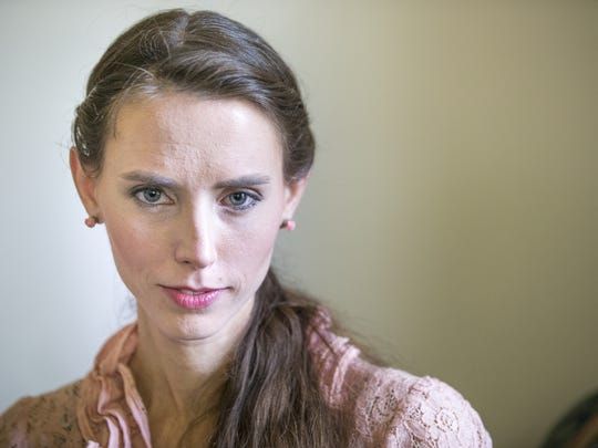 Rachael Denhollander poses for a portrait at her home in Louisville, Ky., Tuesday, August 23, 2016. She filed recent police report in Michigan, alleging that she was sexually abused by Dr. Larry Nassar, formerly the main physician for USA Gymnastics. After dozens of other athletes alleged abuse, Nassar received two criminal indictments.