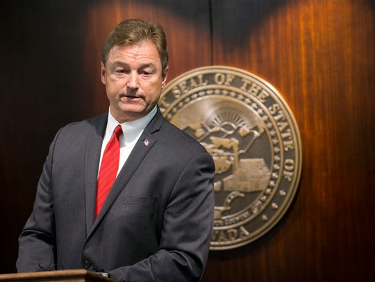 Sen. Dean Heller speaks during a press conference on