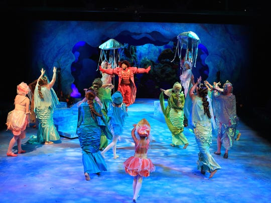 """EJ Parker plays Sebastian the Crab in """"Disney's The Little Mermaid"""" at the Flat Rock Playhouse Downtown through July 22."""