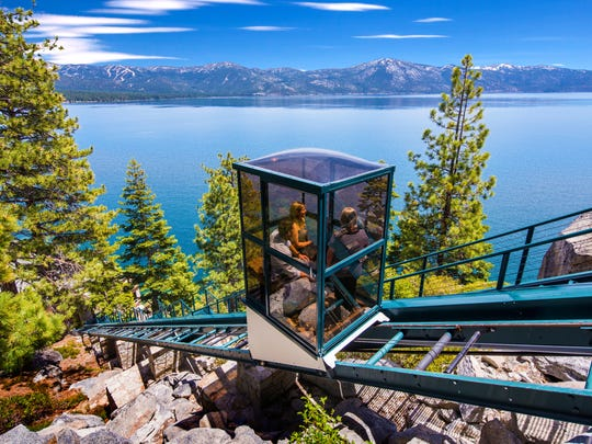 One of two glass funiculars that connect the upper and lower levels of the $75 million Crystal Pointe estate at Lake Tahoe.