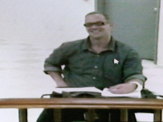 Nevada death row inmate Scott Dozier appears in a Las