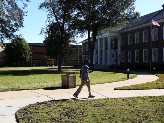 A student walks on campus at LeMoyne-Owen College in Memphis.