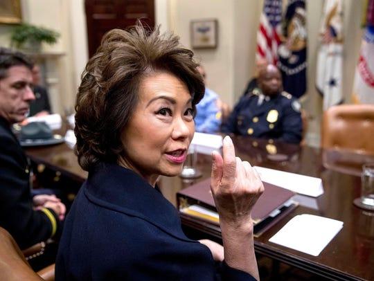 Transportation Secretary Elaine Chao speaks in the