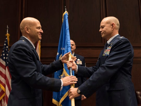 Col. William Sparrow, right, assumed command of the 187th Fighter Wing in December at the Alabama Air National Guard Base in Montgomery.
