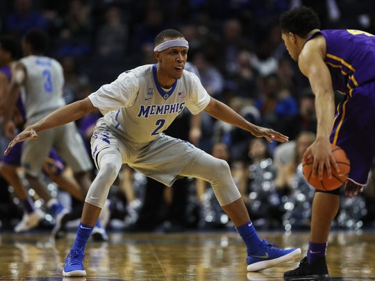 December 28, 2017 - Memphis Tigers forward/guard Jimario Rivers (2) focuses on LSU guard Skylar Mays (4) as he dribbles the ball down the court during the second half at FedExForum on Thursday night in Memphis, TN. The Tigers lost to LSU 71-61.