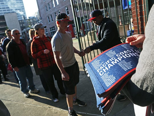 April 10, 2018 - Fans arrive for the Memphis Redbirds season opener against the Omaha Storm Chasers at AutoZone Park on Tuesday.