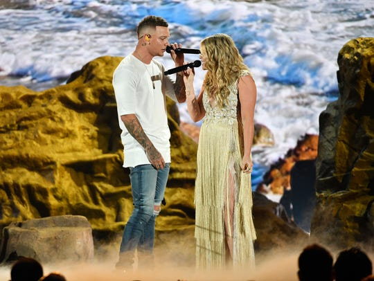 Kane Brown and Lauren Alaina perform during the 53rd