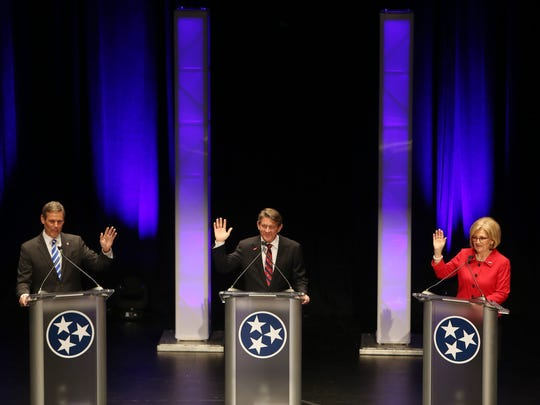 Bill Lee, left, Randy Boyd and Diane Black participate in the West Tennessee gubernatorial debate April 18, 2018, at the Halloran Center in Memphis.