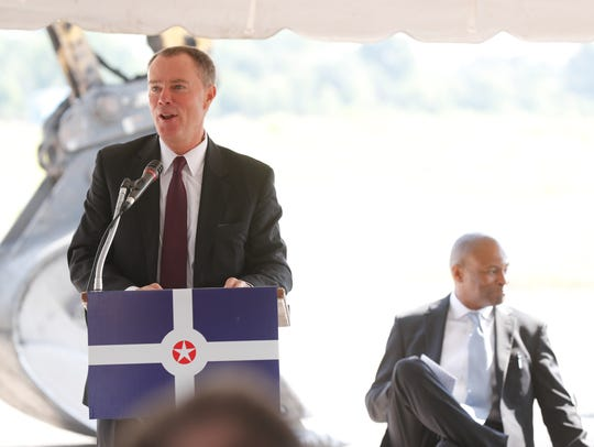 Indianapolis Mayor Joe Hogsett speaks during the groundbreaking