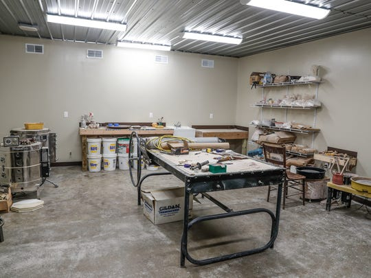 A ceramics room features a slab roller, throwing wheel, and kiln at the Mars Hill Art Center, 2811 Mars Hill St., in the Mars Hill neighborhood of Indianapolis on Thursday, July 12, 2018.