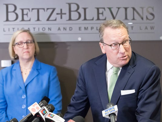 Lawyers from Betz and Blevens Litigation & Employment Law give a press conference threatening a defimation suit in the investigation of groping allegations against Indiana Attorney General Curtis Hill.