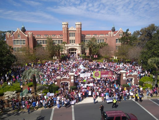 March for Our Lives protesters gather outside the Westcott