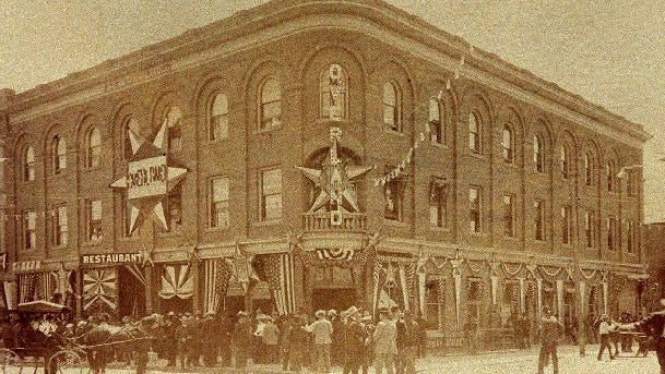 The Overland Hotel at the corner of Commercial and Center streets in downtown Reno, 1900.