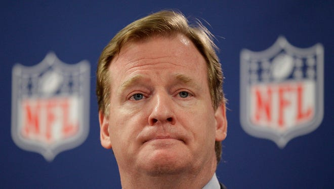 """FILE - In this May 22, 2012, file photo, NFL Commissioner Roger Goodell pauses during a new conference in Atlanta. A law enforcement official says he sent a video of Ray Rice punching his then-fiancee to an NFL employee five months ago, while league executives have insisted they didn't see the violent images until they were published this week. The person played The Associated Press a 12-second voicemail from an NFL office number confirming the video arrived on April 9. A female voice expresses thanks for providing the video and says: """"You're right. It's terrible."""" Goodell sent a memo on Wednesday, Sept. 10, 2014, to the 32 teams reiterating that the NFL never saw the video until Monday, Sept. 8. (AP Photo/David Goldman, File)"""