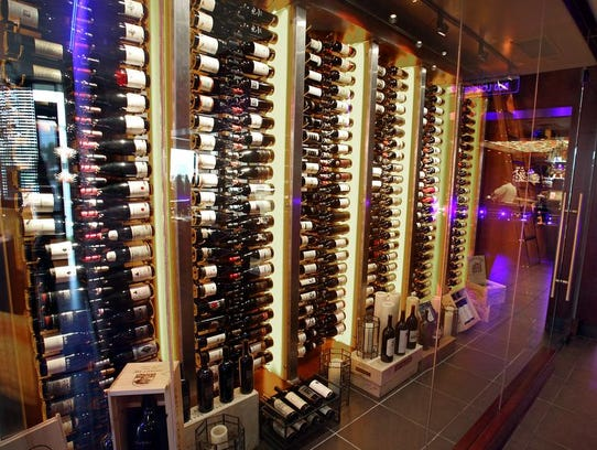 The wine locker at Ocean Prime gives diners a view