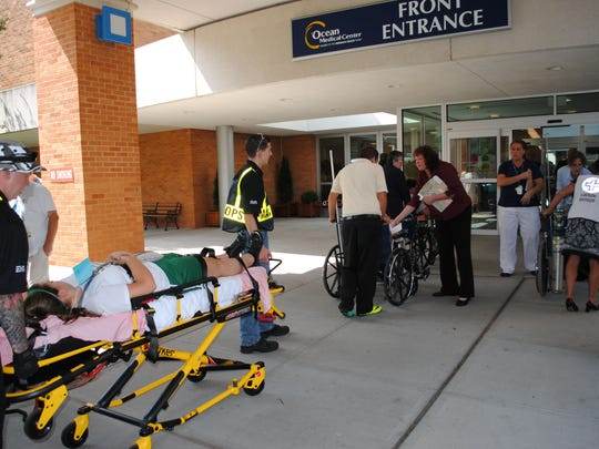 Particpants of an emergency scenario coordinated by the Brick Office of Emergency Management are taken to Ocean Medcal Center of Brick in this file photo.