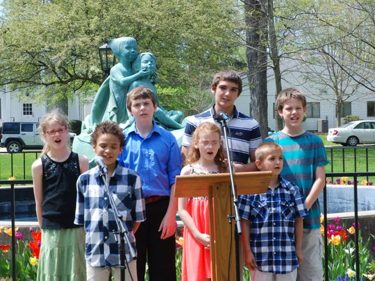 The Northern Tier Christian School students perform at the Wellsboro Ministerium's National Day of Prayer observance on May 7. Front row, from left: Zaidyn Sandlar, Mia Eva and Samson Short. Back row, from left: Marais Muhlenbeck, Dustin Eva, Darian Short and Brant Muhlenbeck.