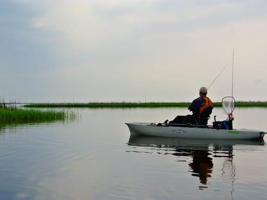 Kayak fishing.
