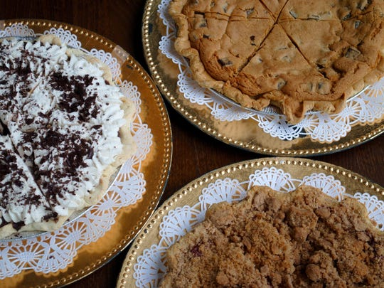 A selection of pies offered at Mara's Cafe & Bakery include Chocolate Creme (left), Chocolate Chip Cookie and Apple Crumb.