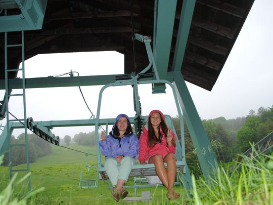 """Anna Brouillette and Erin Murray stopped at the Suicide Six Ski Resort in Pomfret, as part of their trip through Vermont's 251 towns. The pair is documenting their journey on their Instagram account """"For the Love of Vermont."""""""