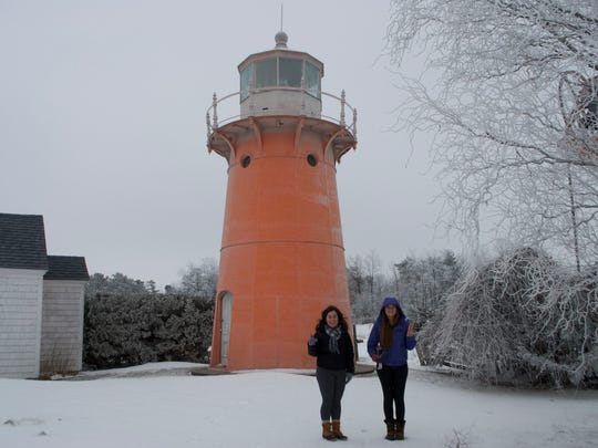 """Anna Brouillette and Erin Murray visited a lighthouse in Isle La Motte. The town was their 38th stop through Vermont's 251 towns. They are documenting their journey on their Instagram account """"For the Love of Vermont."""""""