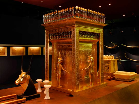 """This canopic shrine is part of """"The Discovery of King Tut"""" exhibit coming to the Grand Rapids Public Museum in May. The exhibit includes more than 1,000 reproduction items from King Tut's tomb and replicates the tomb for visitors."""