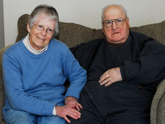 Chug Floro and his wife, Marjorie, are shown last February. They were married for 64 years until his death on Christmas night.