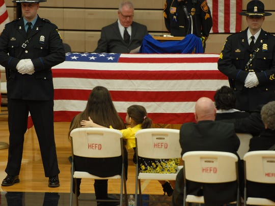 "Hundreds of people attended the funeral for Jose ""Andy"" Chavez, an Elmore police officer, on March 15, 2014, at Woodmore High School."