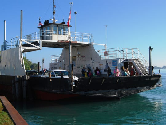 The Blue Water Ferry prepares to cross the St. Clair River from Marine City to Sombra.