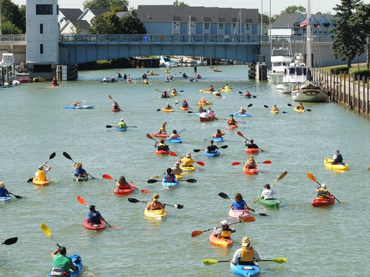 Crowed of kayaks