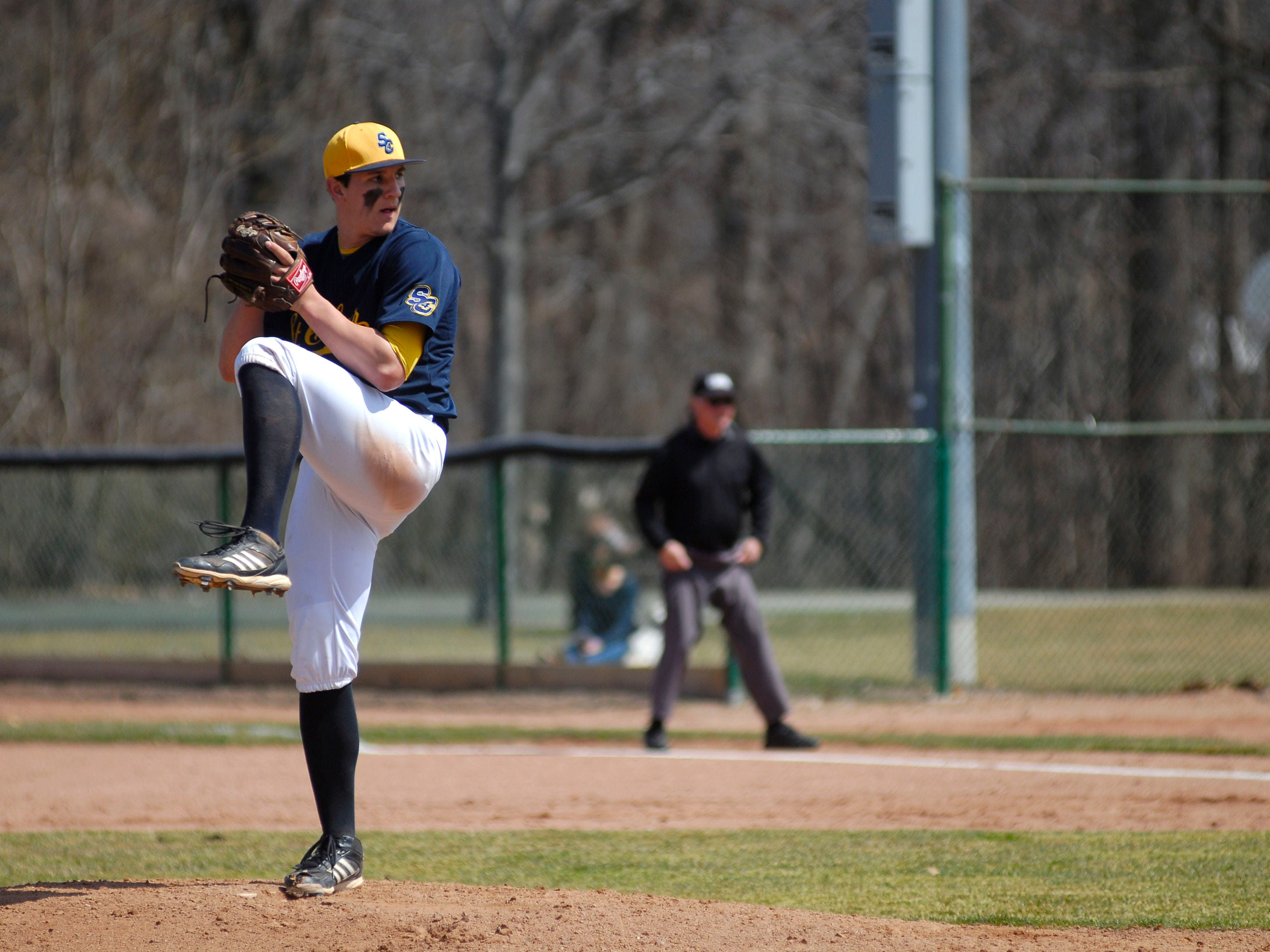 Mitchell Ward readies a pitch April 12 during a game against Ancilla College.