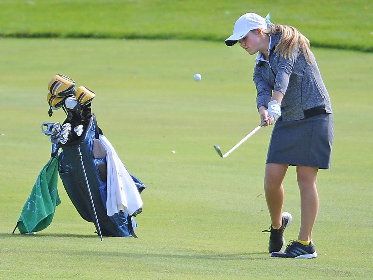 Green Bay Notre Dame golfer Stephanie Staed hits to the green on hole No. 5 during WIAA sectional golf Tuesday at Thornberry Creek at Oneida.